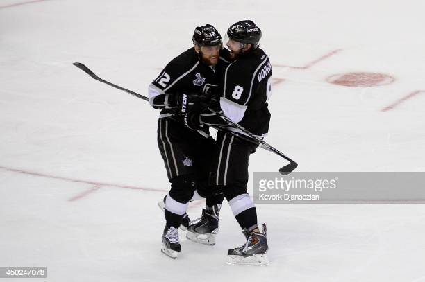 Marian Gaborik of the Los Angeles Kings celebrates his third period goal with teammate Drew Doughty against the New York Rangers during Game Two of...