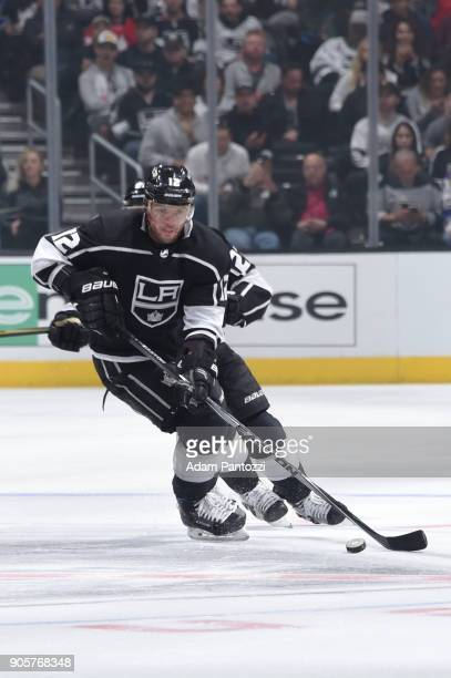 Marian Gaborik of the Los Angeles Kings handles the puck during a game against the San Jose Sharks at STAPLES Center on January 15 2018 in Los...