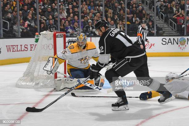 Marian Gaborik of the Los Angeles Kings looks to shoot the puck against Pekka Rinne of the Nashville Predators at STAPLES Center on January 6 2018 in...