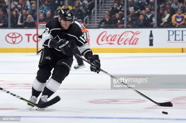 Marian Gaborik of the Los Angeles Kings reaches for the puck during a game against the San Jose Sharks at STAPLES Center on January 15 2018 in Los...