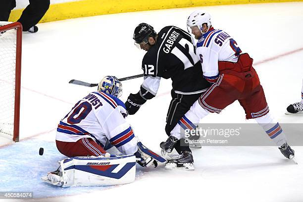 Marian Gaborik of the Los Angeles Kings scores a goal past goaltender Henrik Lundqvist of the New York Rangers in the third period during Game Five...