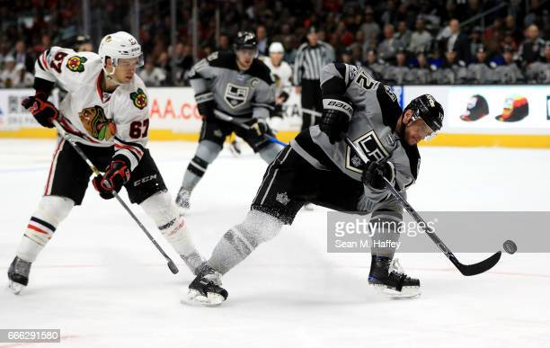 Marian Gaborik of the Los Angeles Kings skates past Tanner Kero of the Chicago Blackhawks during the second period of a game at Staples Center on...