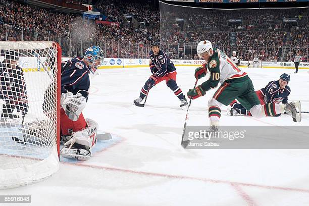 Marian Gaborik of the Minnesota Wild puts a shot on goaltender Steve Mason of the Columbus Blue Jackets on April 11 2009 at Nationwide Arena in...