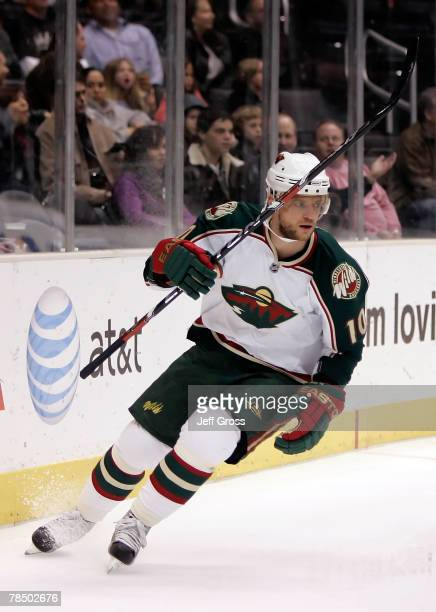 Marian Gaborik of the Minnesota Wild raises his stick after scoring a goal in the first period against the Los Angeles Kings at Staples Center on...