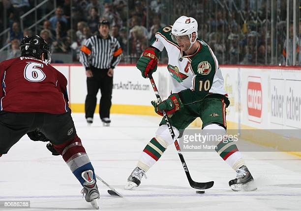 Marian Gaborik of the Minnesota Wild skates against the Colorado Avalanche during game three of the 2008 NHL Stanley Cup Playoffs Western Conference...