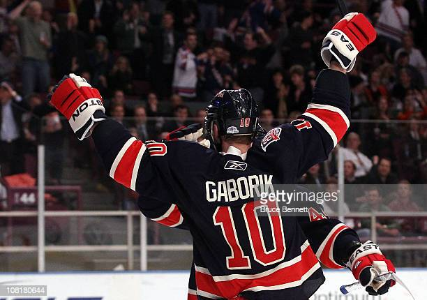 Marian Gaborik of the New York Rangers celebrates his hat trick goal against the Toronto Maple Leafs at Madison Square Garden on January 19 2011 in...