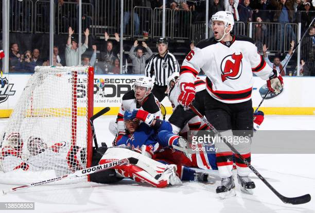 Marian Gaborik of the New York Rangers gets called for a goaltender interference penalty in a disallowed goal with 3 seconds remaining against Martin...