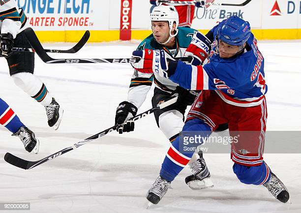 Marian Gaborik of the New York Rangers takes a shot against the San Jose Sharks on October 19 2009 at Madison Square Garden in New York City