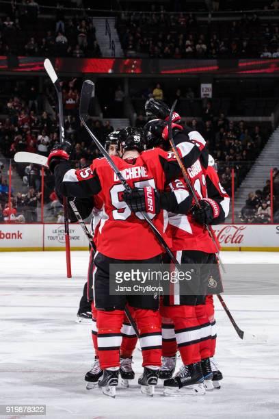 Marian Gaborik of the Ottawa Senators celebrates his third period goal against the Buffalo Sabres with team mate Matt Duchene at Canadian Tire Centre...
