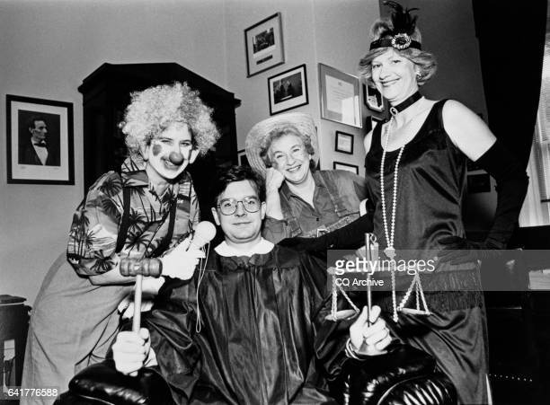 Marian Goodman as a clown Joan Shycoff as a farmer Donna Taylor as a flapper girl and John Farry as a judge dress up in Rep Morris King 'Mo' Udall's...