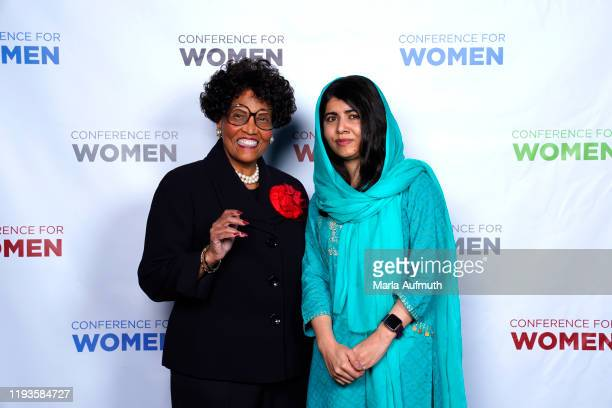 Marian Heard, and Co-founder of Malala Fund and a Nobel Laureate Malala Yousafzai pose for a photo backstage during Massachusetts Conference For...