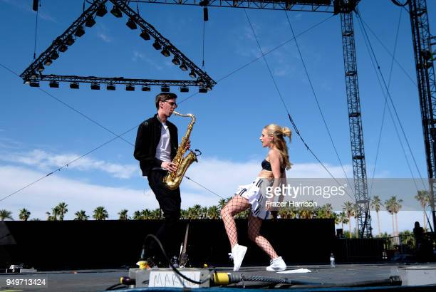 Marian Hill performs onstage during the 2018 Coachella Valley Music And Arts Festival at the Empire Polo Field on April 21 2018 in Indio California
