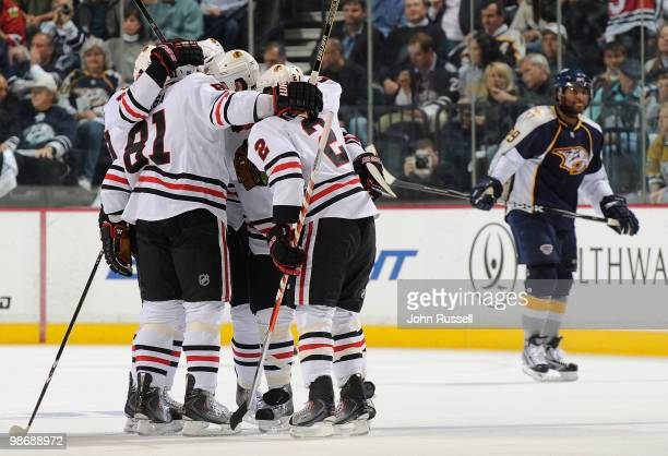 Marian Hossa and Duncan Keith of the Chicago Blackhawks celebrate a goal against the Nashville Predators in Game Six of the Western Conference...