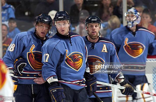 Marian Hossa Ilya Kovalchuk Niclas Havelid and Goalie Kari Lehtonen of the Atlanta Thrashers prepare for a faceoff against the Florida Panthers at...