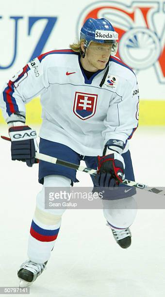 Marian Hossa of Slovakia warms up before his team's game against Sweden in the teams' Group F qualifier match at the International Ice Hockey...