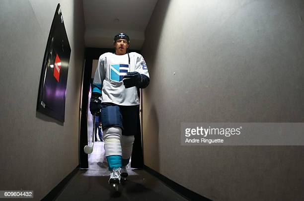 Marian Hossa of Team Europe leaves the ice after warms up prior to a game against /can/ during the World Cup of Hockey 2016 at Air Canada Centre on...