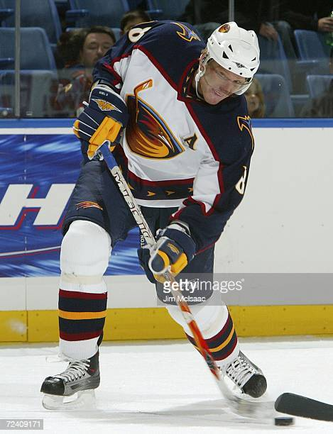 Marian Hossa of the Atlanta Thrashers shoots the puck against the New York Islanders during their game at Nassau Coliseum November 4, 2006 in...