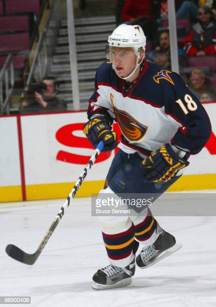 December 15: Marian Hossa of the Atlanta Thrashers skates during the game against the New Jersey Devils at the Continental Airlines Arena on December...