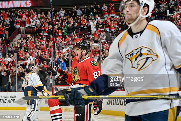 Marian Hossa of the Chicago Blackhawks celebrates after the Blackhawks scored against the Nashville Predators in the third period during Game Four of...