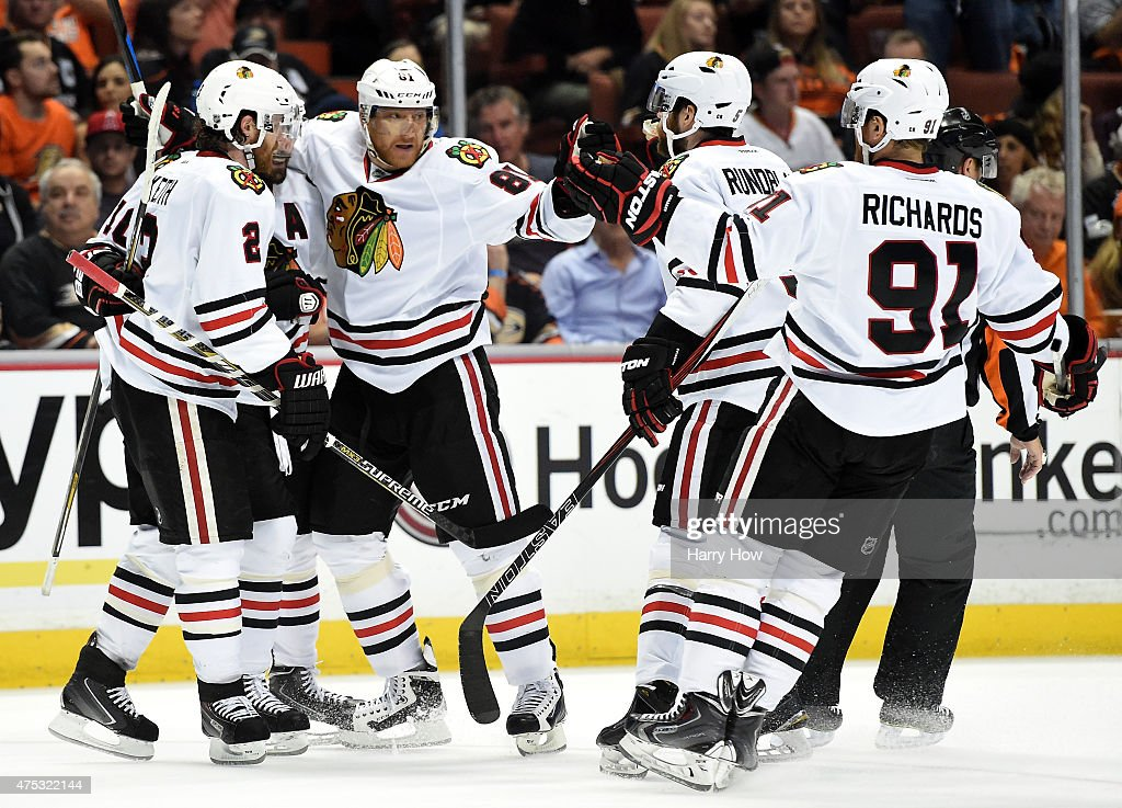Marian Hossa #81 of the Chicago Blackhawks celebrates his second period goal with teammates against the Anaheim Ducks in Game Seven of the Western Conference Finals during the 2015 NHL Stanley Cup Playoffs at the Honda Center on May 30, 2015 in Anaheim, California.