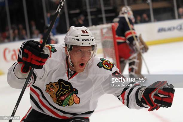 Marian Hossa of the Chicago Blackhawks scores at 938 of the first period against the New York Rangers at Madison Square Garden on February 16 2012 in...