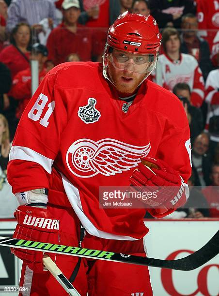 Marian Hossa of the Detroit Red Wings skates against the Pittsburgh Penguins during Game Seven of the 2009 NHL Stanley Cup Finals at Joe Louis Arena...
