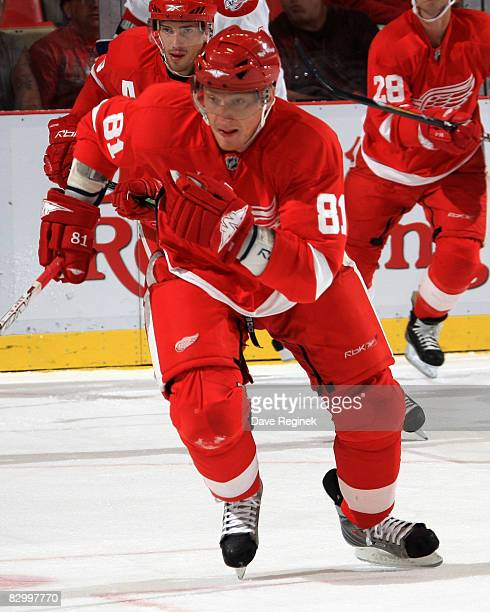 Marian Hossa of the Detroit Red Wings skates up ice during the NHL preseason opener against the Montreal Canadiens on September 24 2008 at Joe Louis...