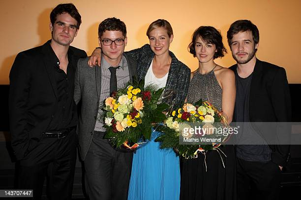 Marian Kindermann Stefan Ruppe Lucie Heinze Lisa Bitter Martin Aselmann attends the 'Das Hochzeitsvideo' World Premiere at Cinedome Cologne on May 2...
