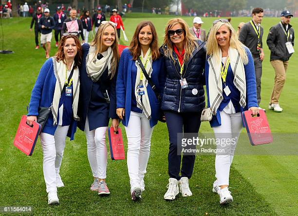 Marian Lawrie Erica Stoll Bethany Wood Tabitha Furyk and Caroline Harrington look on during morning foursome matches of the 2016 Ryder Cup at...