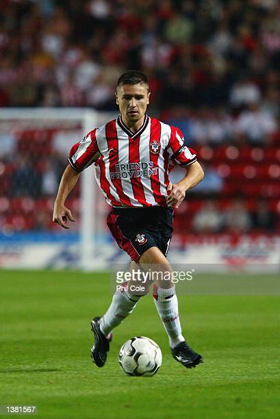 Marian Pahars of Southampton in action during the FA Barclaycard Premiership match between Southampton and Everton at The Friends Provident St Mary's...