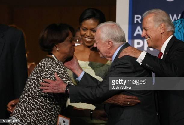 Marian Robinson asn her daughter Michelle Obama wife of presumptive Democratic nominee US Sen Barack Obama greet Former US President Jimmy Carter as...