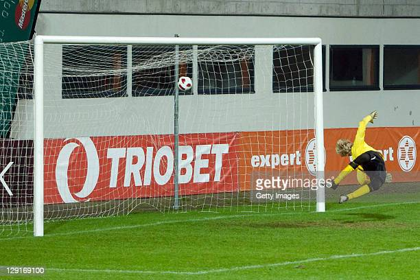 Marian Sarr of Germany shoots a goal against goalkeeper Kristjan Tamme of Estonia during the Under17 Euro qualifier match between Germany and Estonia...