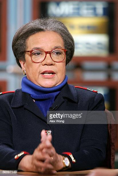 Marian Wright Edelman Founder and President of Children's Defense Fund speaks during a taping of 'Meet the Press' at the NBC studios January 15 2006...