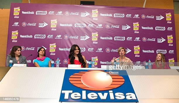 Mariana Beraki Lorena Pontones Marisol Gonzalez Karina Velasco and Fernanda Zargueta speak during a press conference to publicize the initiative Are...