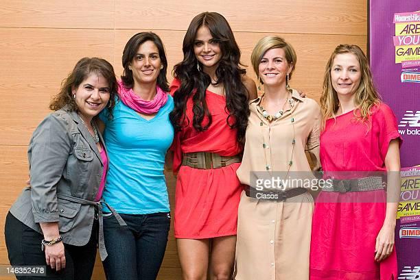 Mariana Beraki Lorena Pontones Marisol Gonzalez Karina Velasco and Fernanda Zargueta pose for a picture during a press conference to publicize the...
