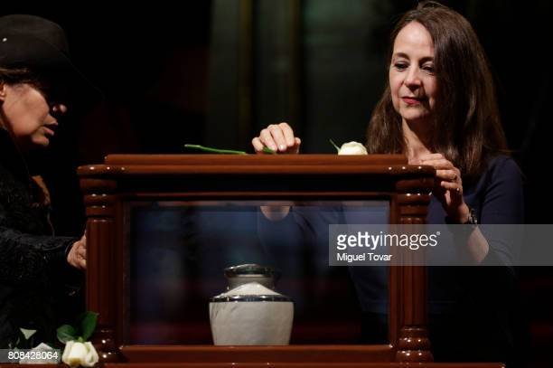 Mariana Cuevas daughter of Jose Luis Cuevas stands guard during an homage to Mexican artist Jose Luis Cuevas at Bellas Artes Palace on July 04 2017...