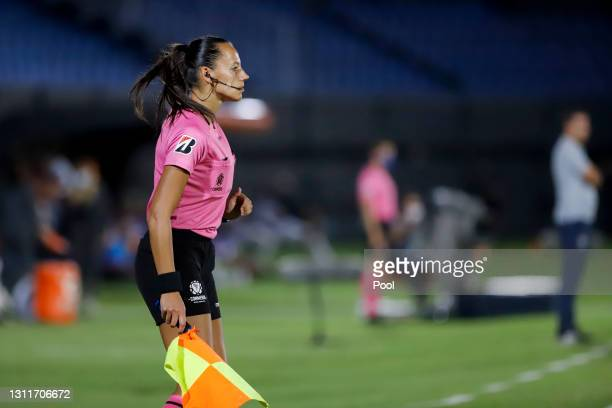 Mariana de Almeida assistant referee looks on during a third round first leg match between Independiente del Valle and Gremio as part of Copa...
