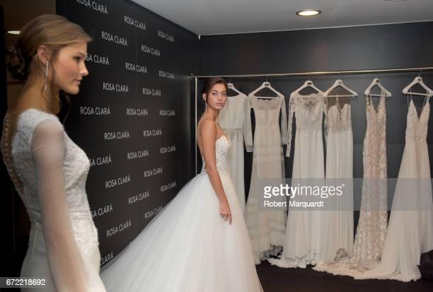 Mariana Downing and Jordan van der Vyver attend a bridal fitting at the Rosa Clara Bridal studio on April 24 2017 in Barcelona Spain