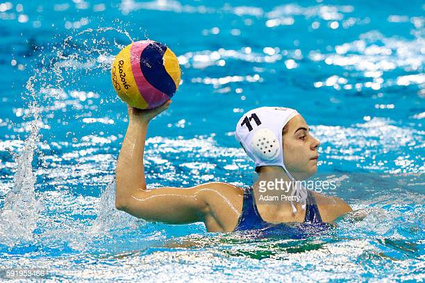 Mariana Duarte of Brazil in action during the Women's Water Polo 7th 8th Classification match between Brazil and China on Day 14 of the Rio 2016...
