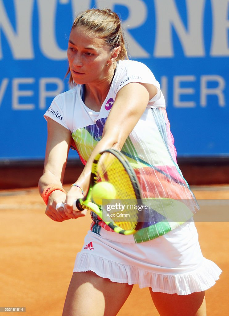 Mariana Duque-Marino of Colombia returns the ball to Kiki Bertens of Netherlands during their singles final match on day eight of the Nuernberger Versicherungscup 2016 on May 21, 2016 in Nuremberg, Germany.