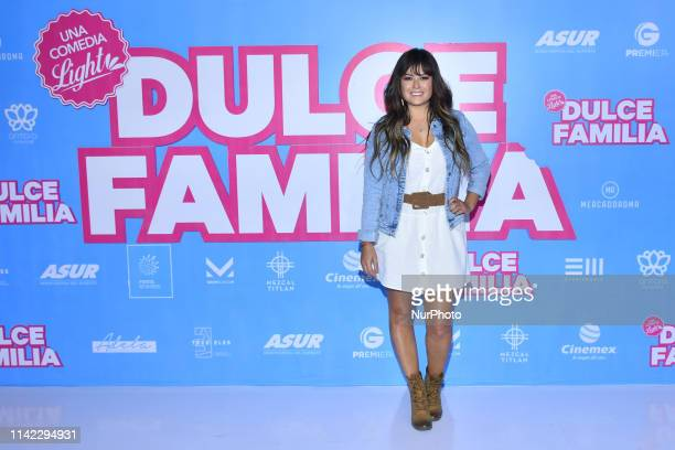 Mariana Echeverria poses for photos during the red carpet of 'Dulce Familia film premiere at Cinepolis Antara on May 7 2019 in Mexico City Mexico
