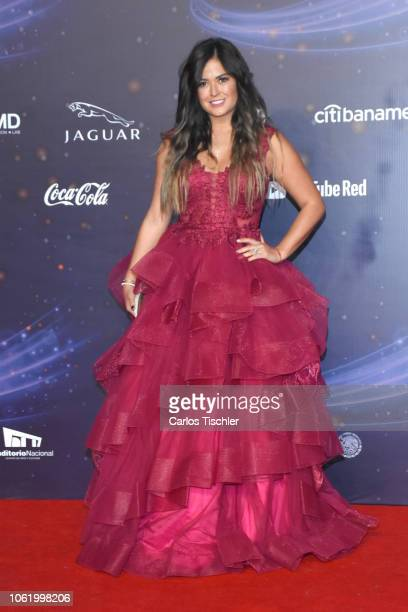 Mariana Echeverria poses for photos on the red carpet before the XVII Lunas del Auditorio award ceremony at Auditorio Nacional on October 31 2018 in...