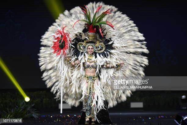 Mariana García Miss Guatemala 2018 walks on stage during the 2018 Miss Universe national costume presentation in Chonburi province on December 10 2018