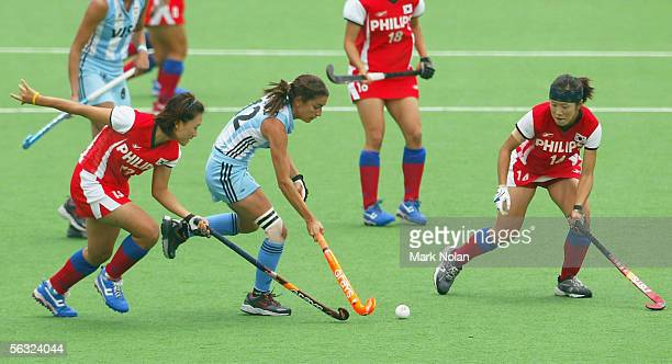 Mariana Gonzalez of Argentina takes on the Korean defence during the Women's Hockey Champions Trophy fifth round match between Argentina and South...