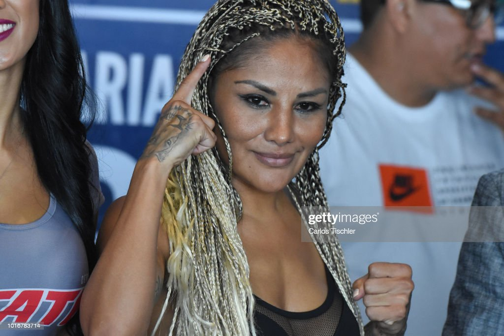 Mariana Juarez 'Barby' poses for photos during a weigh-in on August 10, 2018 in Mexico City, Mexico. Mariana 'Barby' Juarez of Mexico will fight against Terumi Nuki of Japan for the WBA Bantamweight World Championship and Jackie Nava of Mexico will fight Alys Sanchez of Venezuela for the WBA Bantamweight International Championship on August 11.