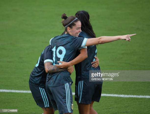 Mariana Larroquette of Argentina celebrates with teammates after scoring a goal in the second half of their SheBelieves Cup international soccer...