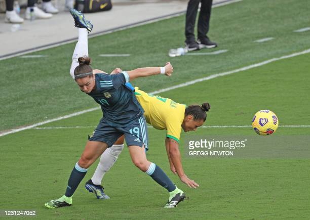 Mariana Larroquette of Argentina challenges Brazils Camila in the second half of their SheBelieves Cup international soccer tournament game at...