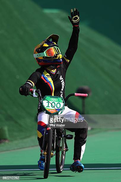 Mariana Pajon of Colombia celebrates after winning the gold during the Women's Final on day 14 of the Rio 2016 Olympic Games at the Olympic BMX...