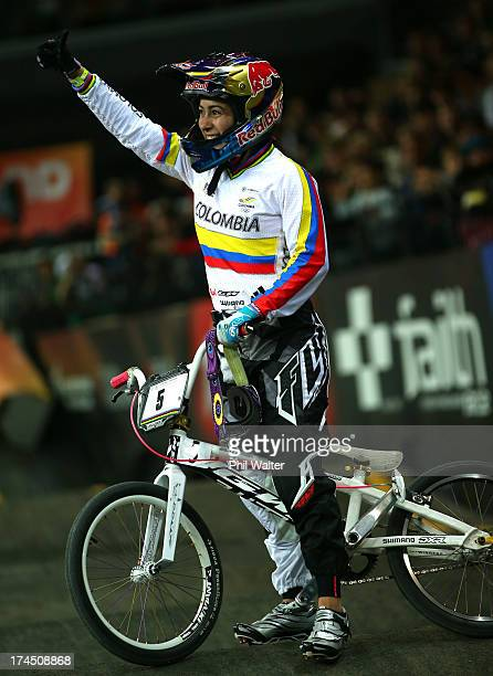 Mariana Pajon of Colombia celebrates winning the Elite Womens Time Trial during day four of the UCI BMX World Championships at Vector Arena on July...