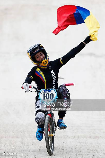 Mariana Pajon of Colombia celebrates winning the in the Elite Womens Time Trial Race during day 4 of the UCI BMX World Championships at on July 24...